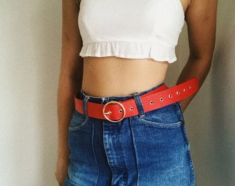 Red Belt with Gold Buckle
