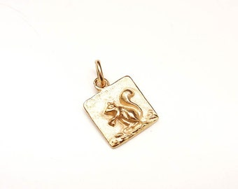 Squirrel Charm, Squirrel Necklace, Squirrel Jewelry, Gold Charm, Britanium Charm, Pewter Charm, Charm Bracelet, Square Charm, Gold Plated