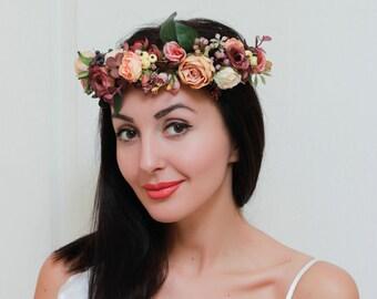 Floral crown Boho wedding Bridal flower crown Orange brown flower crown Bridal floral headband Wedding hair wreath Bridesmaid crown