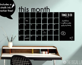 This Month Chalkboard Calendar Wall Decal - Blackboard Monthly Wall Calendar Decal - Free Chalk Ink Marker CHK-MCAL2