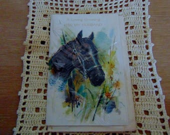 Vintage Birthday Card for Husband Horse Lover 1960s