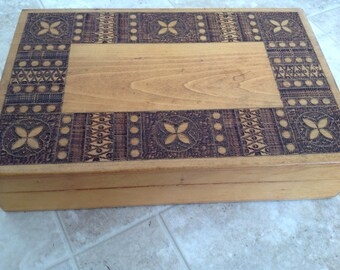 Vintage Large Polish Carved Box with Lid