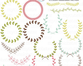 Laurels Clipart Set - laurels clipart, laurel, frames, laurel borders, floral, leaves - personal use, small commercial use, instant download