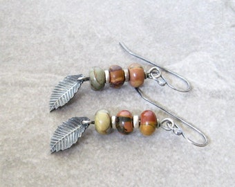 jasper and silver earrings, boho dangle earrings, rustic stone earrings, oxidized silver earrings, multi stone earrings