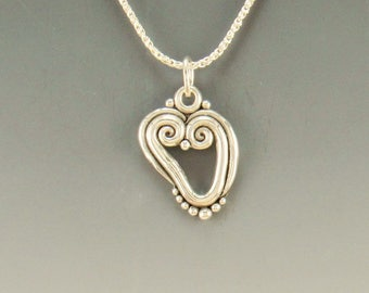 P721- Sterling Silver Heart Pendant- One of a Kind