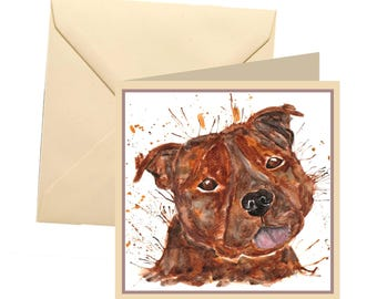 Staffie greetings card, blank card, greetings card, birthday card, note card, thank you card, staffy thank you card, staffy card