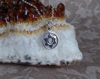 Sacral Chakra Necklace ~ Sterling Silver Charm Pendant ~ Sanskrit ~ Second Chakra Pendant
