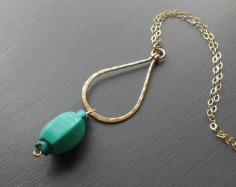Long Gold Pendant Necklace, Gold filled Turquoise Necklace