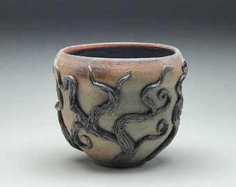 Rustikalen Bio Cup, Rad geworfen, Keramik, erdigen Wurzeln Reben, Rad geworfen Becher, Keramik-Becher, goldiges Teetasse, Whisky-Tasse, Botanik-Liebhaber