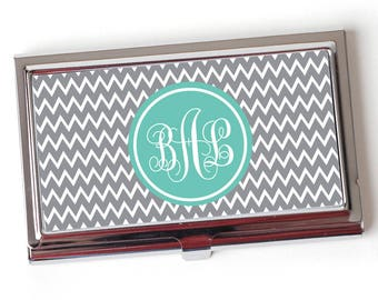 Business card cases etsy monogram business card holder mint monogram business card case gray chevron monogram business card colourmoves