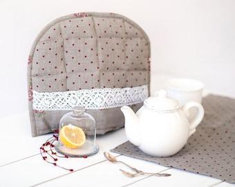 Tea cozy - Linen polka dot tea cozy - Red gray polka dot teapot cosy - Linen tea cozy - Mothers day gift