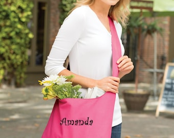 Personalized Grocery tote Bag- Monogrammed Grocery Sling Bag- Personalized tote- Cross Body Bag- Canvas tote Bag- Name Logo Text