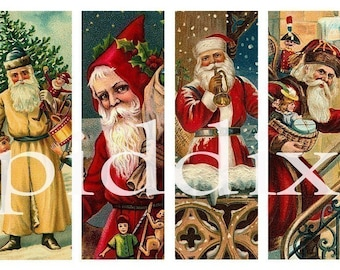 Victorian Christmas Santas in 1x3 inches for microslides and more -- piddix digital collage sheet no. 415