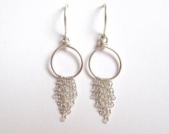 Circular chain drop earrings in sterling silver