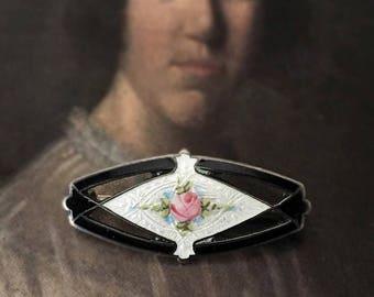 Antique Guilloche Enamel Rose Brooch Sterling Silver Pin