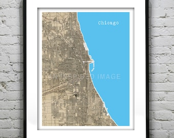 20% OFF Memorial Day Sale - Chicago Poster Art Print Illinois Old Vintage Map