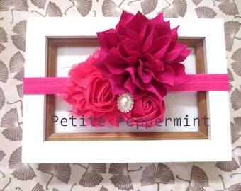 Hot Pink Baby Headband, Purple Flower Headband, Baby Hair Bow, Infant Headband, Toddler Headband, Baby Head Band, Photo Prop