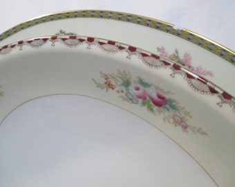 Vintage Mismatched China Serving Pieces, Oval Serving Platter, Oval Vegetable Bowl w/Imperfections- Set of 2