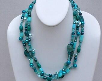 Amazon Dream - Mixed Blue Gemstone Necklace by MixedMediaDesigns1