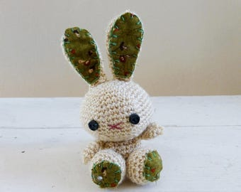 Bunny stuffed animal, crochet bunny, tan bunny, bunny tail, rabbit doll, amigurumi animal, crochet amigurumi, ready to ship, kawaii