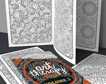 Adult Coloring Book | Art Therapy Volume 3 - Printable Coloring Book | digital download, print & color | 20 grown-up coloring page patterns