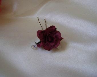 Burgundy Wild Rose Hairpin - Bride - Bridesmaid - Flower Girl