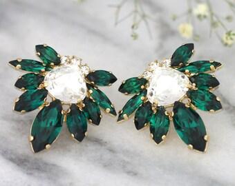 Emerald Earrings, Emerald Bridal Earrings, Swarovski Emerald Earrings, Bridal Emerald Green Earrings, Emerald Cluster Swarovski Earrings
