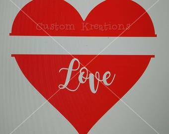 Split heart Love cut out SVG File