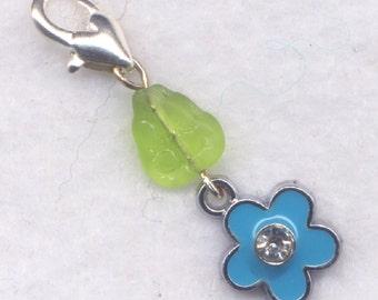 Blue Flower Stitch Marker Clip Enameled Crystal Rhinestone Single /SM208D