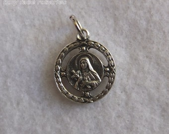 St. Therese of Lisieux Little Flower Silver Oxidized Metal Pendant Medal Charm