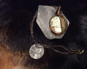 Raw Amazonite N Oregon Sunstone Necklace