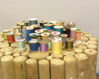 Vintage Thread, Wooden Spools, Silk, Cotton, Synthetic Fiber, Carpet Thread