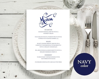 Navy Menu Template, Wedding Menu Template, Menu Card, Wedding Menu Printable, Menu, Menu Template, Printable Menu, Download, MM04-2