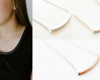 Rose Gold Tube Necklace - Layering Necklace - Sterling Silver Necklace - Rose Gold Bar Necklace - Bridesmaid Necklace - Minimalist Necklace