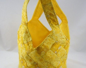 Medium handmade patchwork tote bag midi yellow