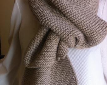 IT,S A NATURALClassic Hand Knitted Scarfe in Neutral Beige Perfect Winter Accessory for a Man or Woman