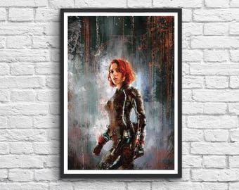 Art-Poster 50 x 70 cm - Black Widow x Scarlett Johansson