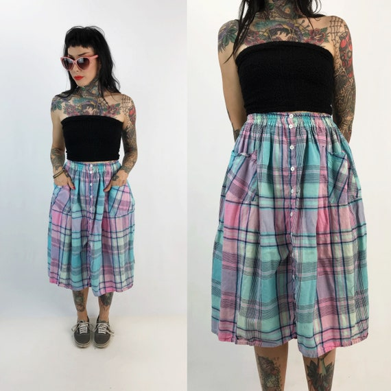 80's Pastel Plaid Button Front High Waist Midi Skirt W/ Pockets Small - Casual Cotton Skirt Elastic Waist Vintage Printed Cute Spring Skirt