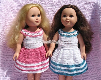 Crochet Pattern 135 - Crochet Dress Pattern for 18 in Doll - Crochet Patterns - Doll Summer Dress for 18 in  American Doll Gift for Girl