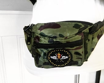 Camouflage bee patch fanny pack