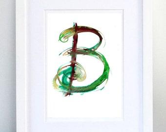 Print, Art Print, Wall Decor, Wall Art, Illustration Print, Green Ink Drawing, Letter B, print 8x11.5 inch (21x29.5 cm)