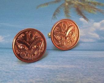 New Zealand Coin Cuff Links (2014) 10 Cents (Maori mask)