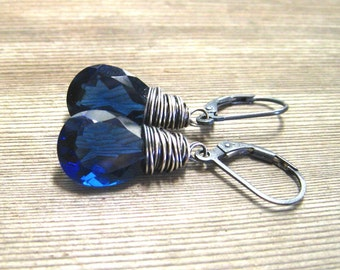 Blue Sapphire Earrings,  Wire Wrapped Kashmire Quartz Dangle Earrings, Sterling Silver, September Birthstone Jewelry, Indigo Blue