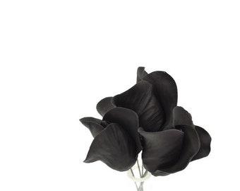 Black Rose Buds for sugar flower arrangements, fondant gumpaste flower wedding cake toppers, cake decorations, filler flowers