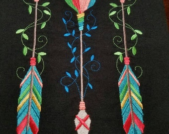 Colorful Arrow Trio Embroidered Flour Sack Kitchen Towels - Made to Order