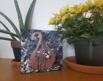 Alpha Chi Omega sorority Greek lyre symbol marbled canvas - handmade, made to order