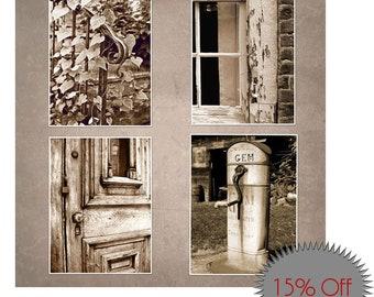 Rustic Wall Art-Set of 4-Wall Canvas Set-Instant Collection-Sepia Prints-Canvas-Original Art-Ivy-Window-Door Photography-Farmhouse Wall Art