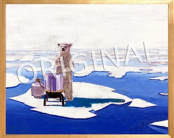 Polar Bear Painting, Melting Icebergs, Arctic Painting, Funny Beer Gift for Him, Beer Brewing Gift, Bruin, Anniversary Beer Gift for Husband