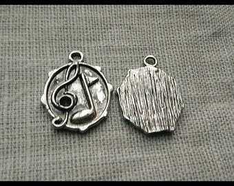 Treble clef music, 24 mm silver plated charm pendant