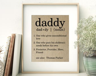 Definition of Daddy   Personalized Father's Day Gift From Children   Birthday Gift for Dad Daddy Papa Pop   Fathers Day Gift from Children